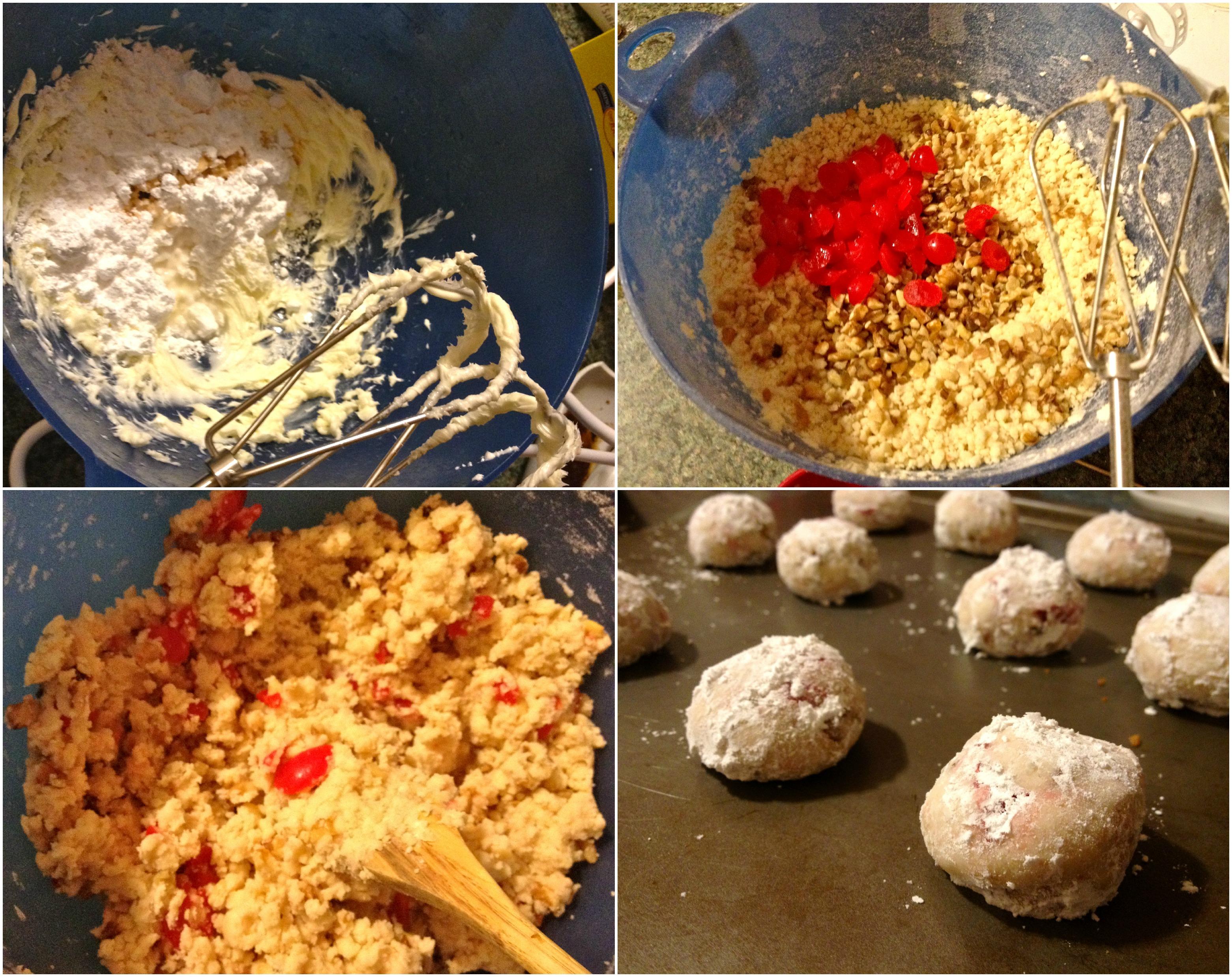 Cherry walnut balls prep