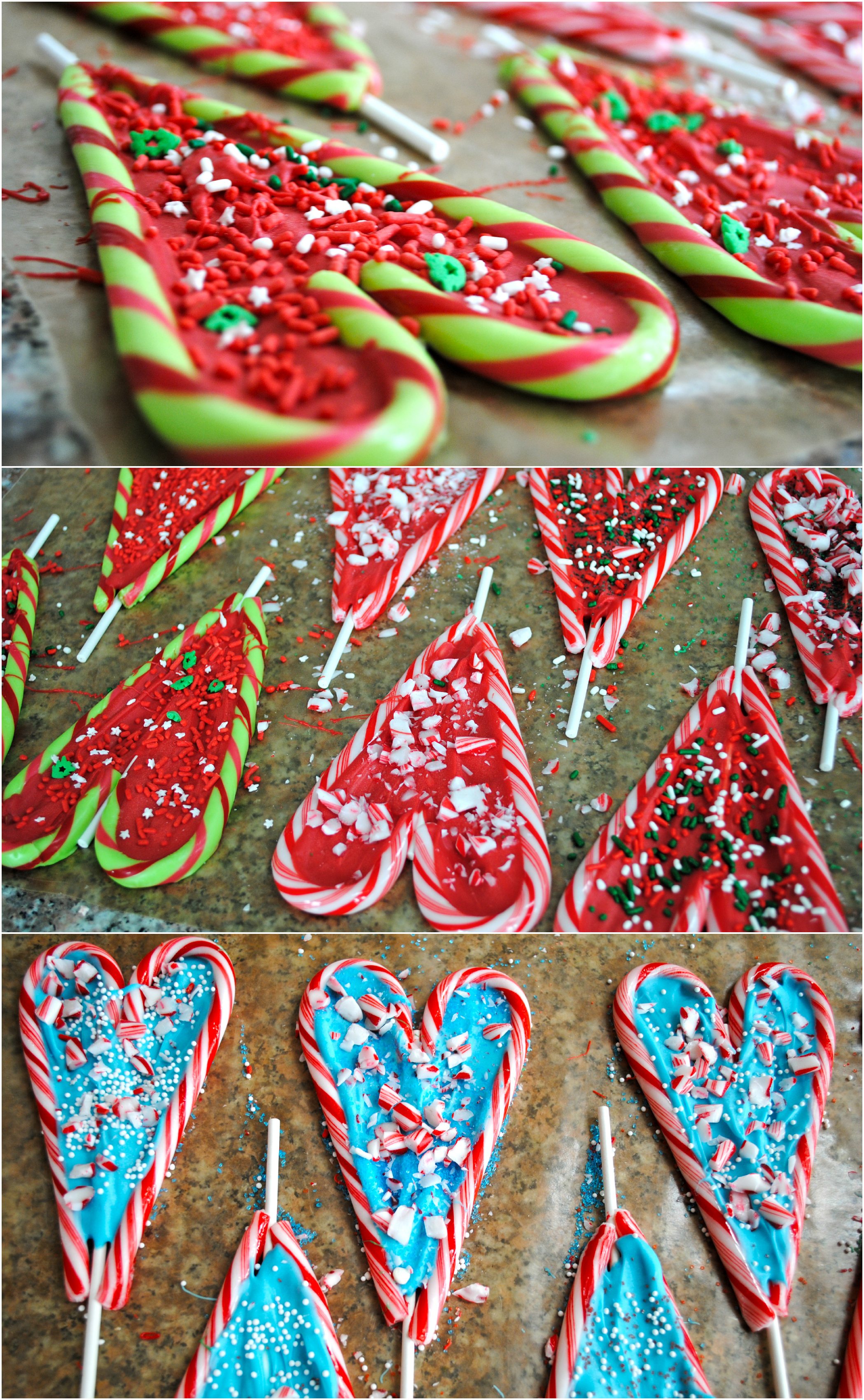 Chocolate candy cane hearts
