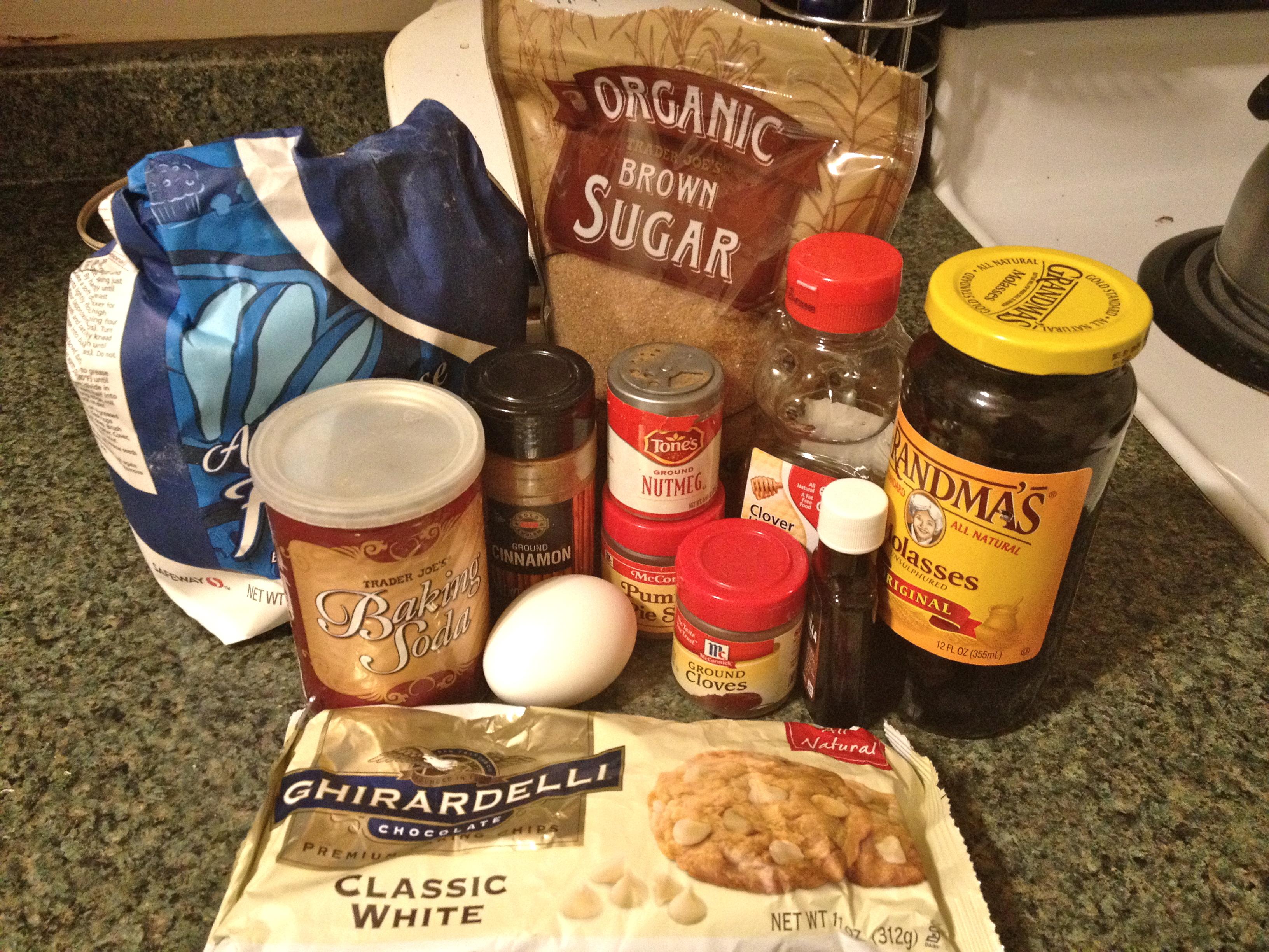 Gingerbread brownie supplies