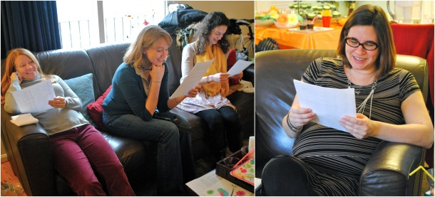 Guests and mom-of-honor relaying a baby themed mad lib story. In which Rachael's husband Ryan turned out to be a lawyer, a doctor, an acrobat, and a correctional officer.