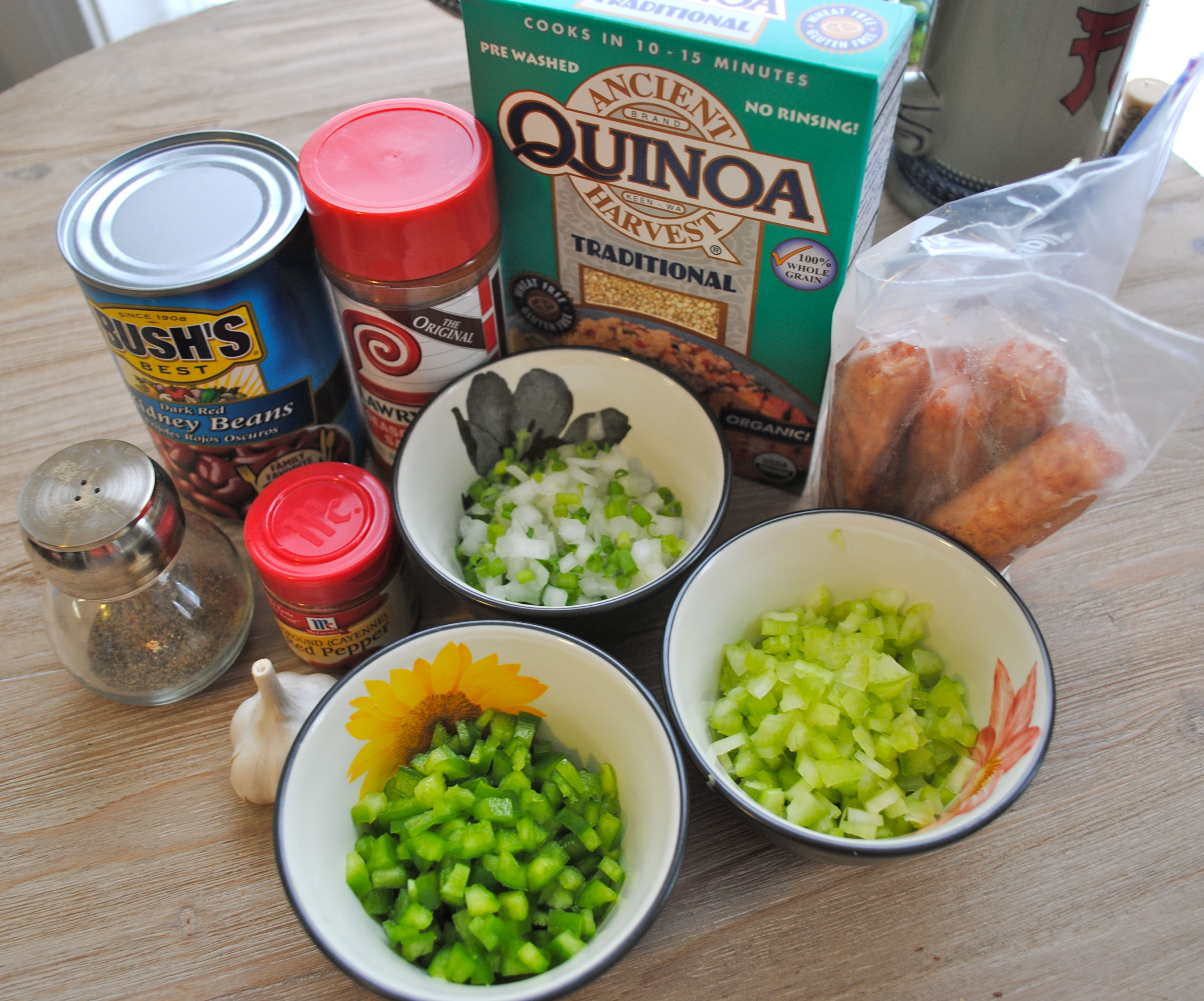 Quinoa red beans and rice ingredients
