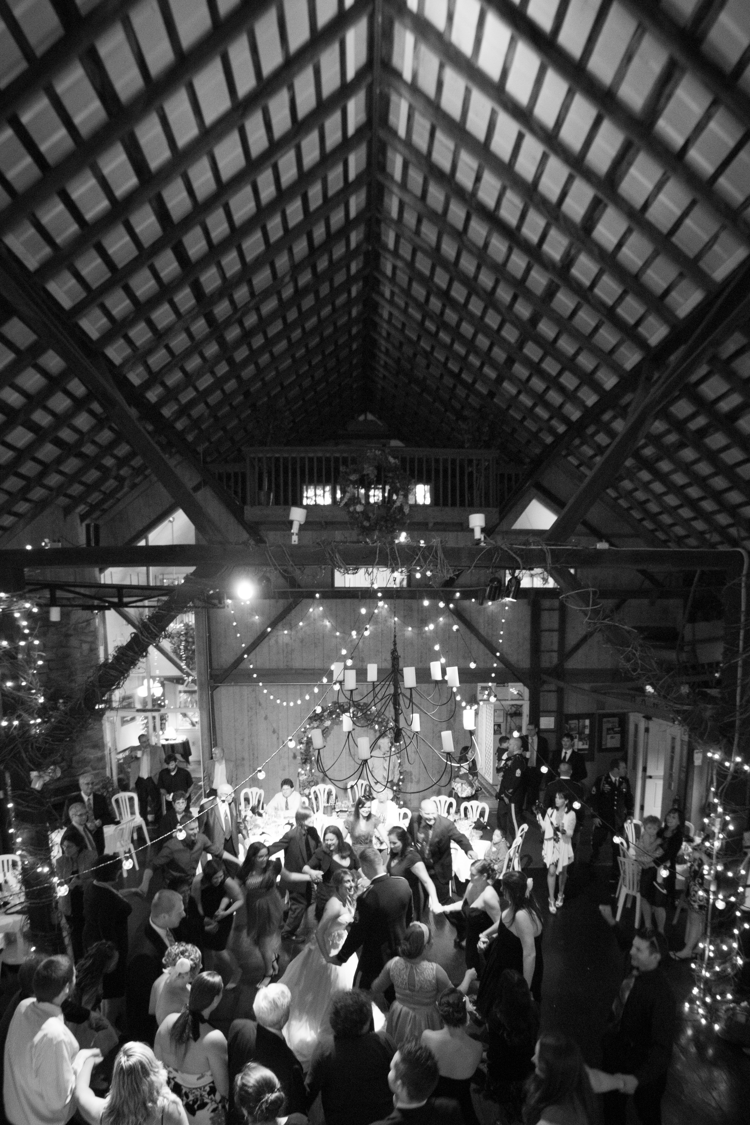 Barn wedding horah