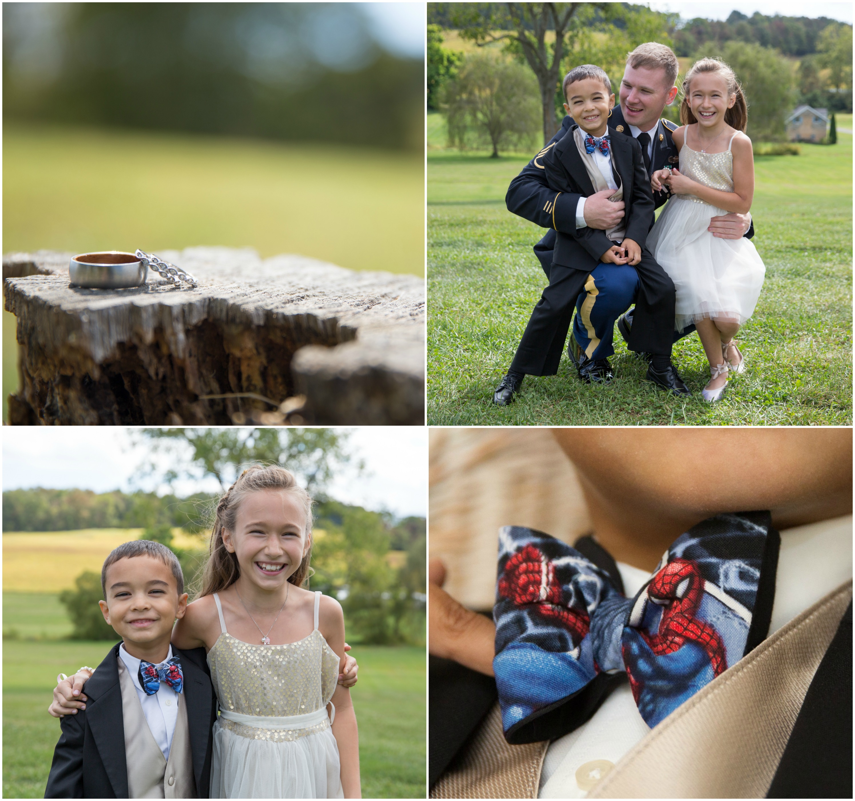 Ring bearer Spiderman bowtie and flower girl