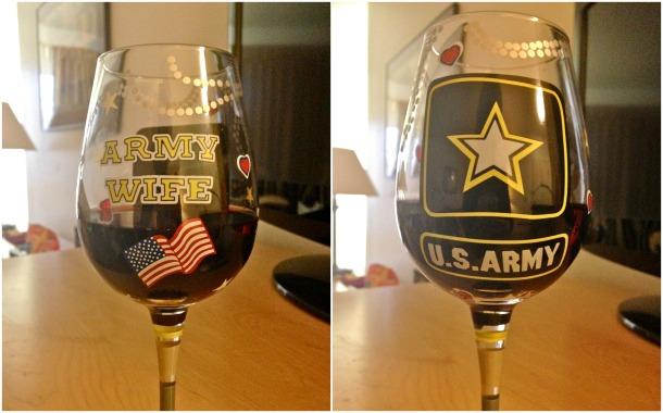 Army wife wine glass