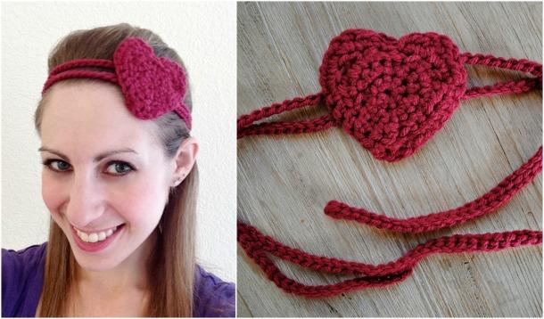 Maroon heart headband